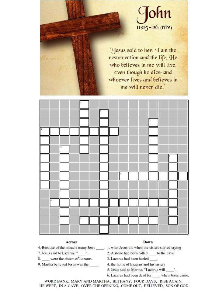John 11 25 Crossword & Verse